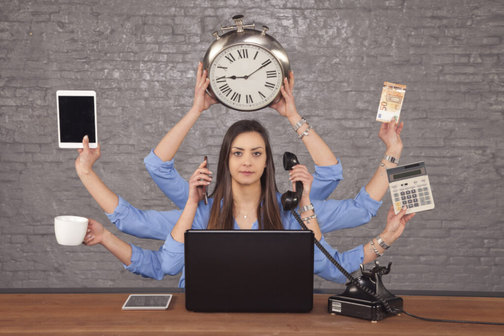 Multitasking business owner