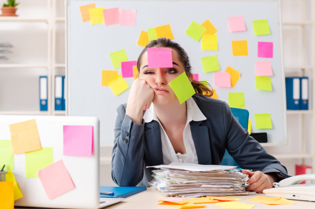 Busy business owner struggling with marketing measurement
